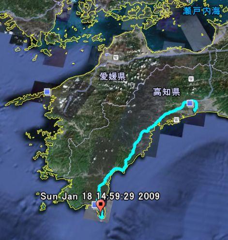 足摺岬から高知市までのGPSロガーによるロギング